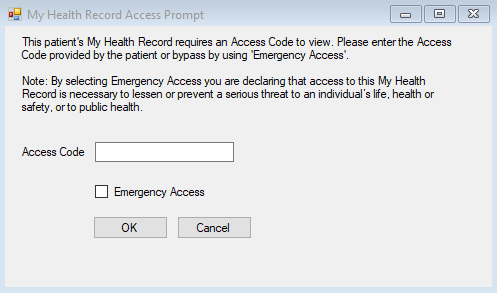 My Health Record Landing Access Prompt